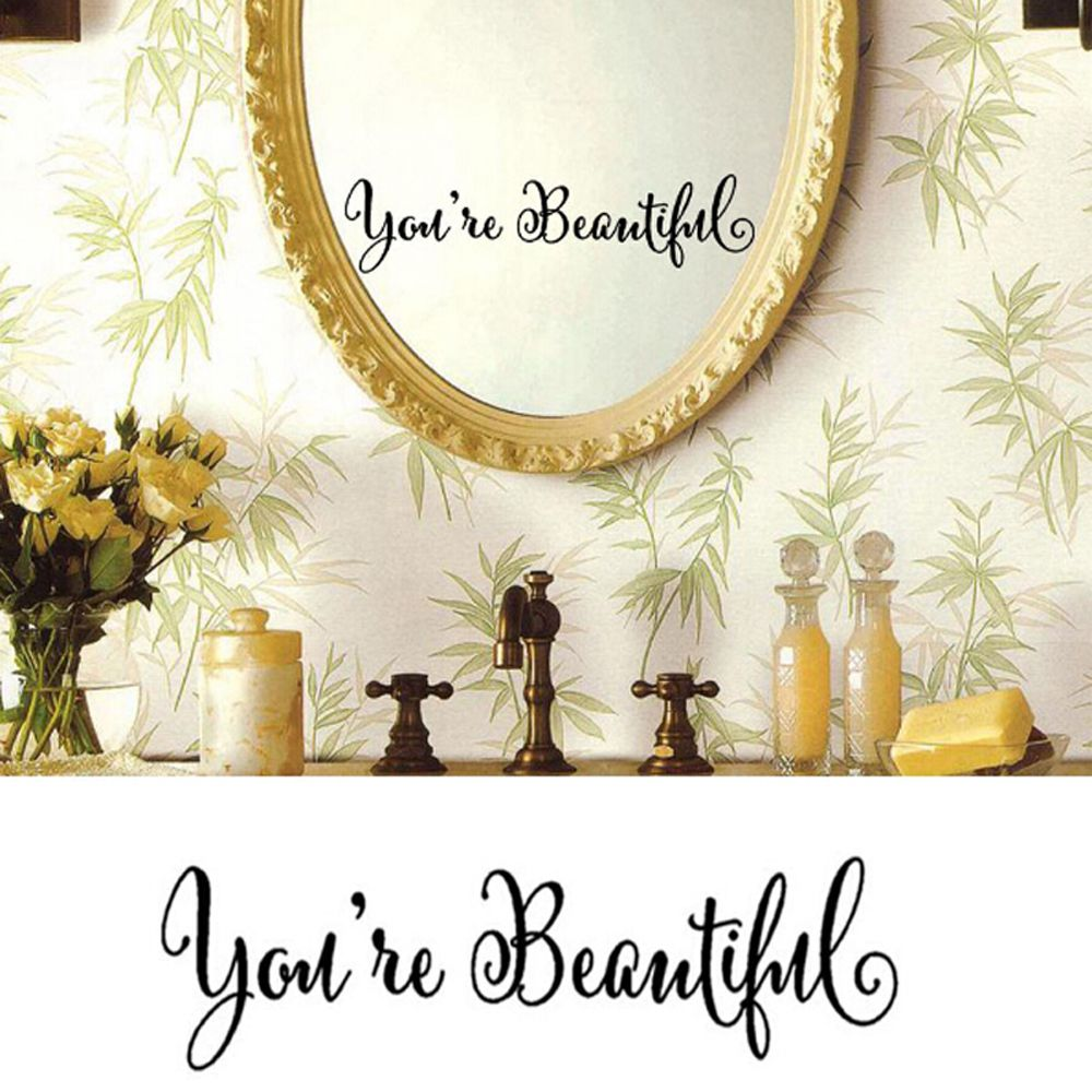 1PC Home Decal Mirror English Proverbs Wall Paper Art Decor Living Room Removable Vinyl Wallpapers Home Improvements Home Improvement