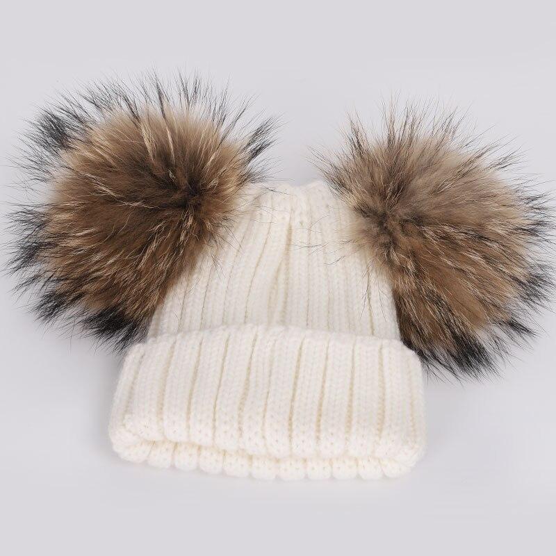 New Cute Children's Raccoon Fur pom poms Knit Beanie Hat Scarf Boy Girl Winter Thicken Hedging Cap Scarves Soft Ski Baby Kids 5