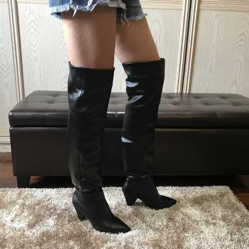 2019 Sonbahar Kış Kadın Çizmeler Kürk Sıcak Deri Uyluk Yüksek Çizmeler Moda Seksi Diz üzerinde Çizmeler Yüksek Topuklu Ayakkabılar kadın
