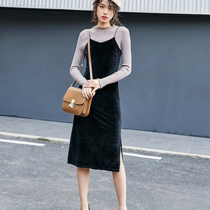 2017 Spring Dress Fashion Style Dress Korean Hot Sale Vest Dress Velvet Strapless Split M Xl In