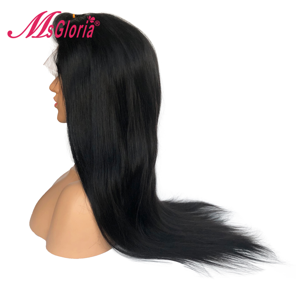 360 Lace Frontal Wig For Women Brazilian Remy Straight Human Hair Wig With Baby Hair Pre Plucked Natural Hairline Bleached Knots