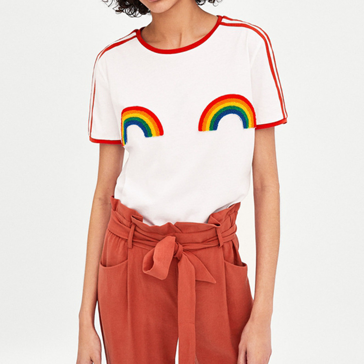 Spain Single Woman A Spring Summer Rainbow Hair Circle Decoration Pattern Round Neck Short Sleeve T T-shirt
