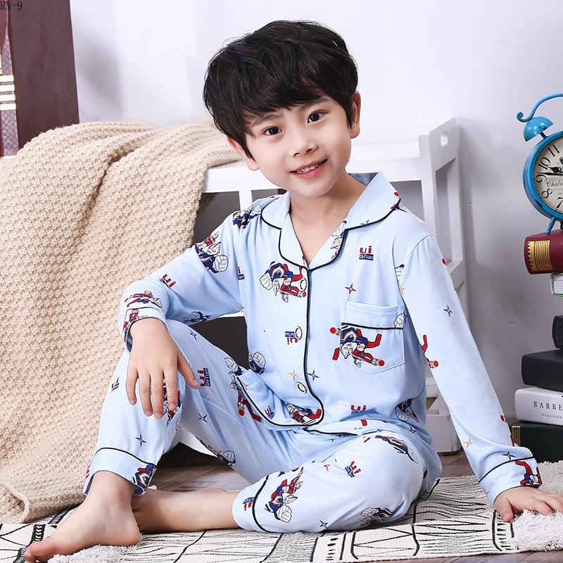 Image 2 - Fashion Cotton Children Pajamas Suit 2019 Spring Girls Pajamas Cartoon Full Sleeve Pants Suit Boys Cardigan Kids Loungewear Set-in Pajama Sets from Mother & Kids