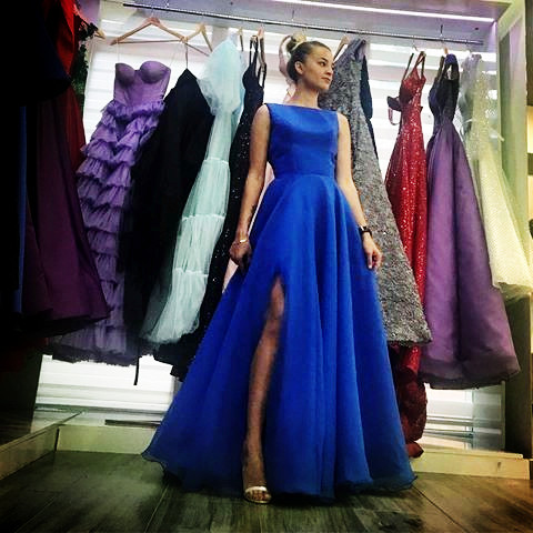 Bateau Neckline Blue Long   Prom     Dresses   with Slit
