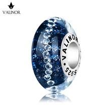 Dark blue stars surround flash murano glass beads charms 925 Sterling Silver fit  Bracelets  Jewelry Trendy JKLL009 3