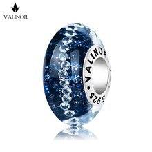Perles de verre murano, étoiles bleu foncé, breloques en argent Sterling 925, tendance, idéal pour bracelet