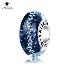 الأزرق الداكن نجوم surround فلاش زجاج مورانو الخرز charms 925 فضة صالح أساور مجوهرات العصرية JKLL009 3