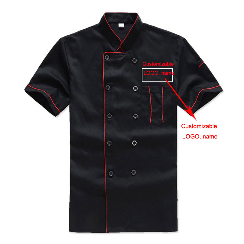 Short-Sleeved Chef's Costume for Men Work Clothes Breathable Outfit Summer Wear Overalls Hotel Kitchen Chef Customize LOGO Name