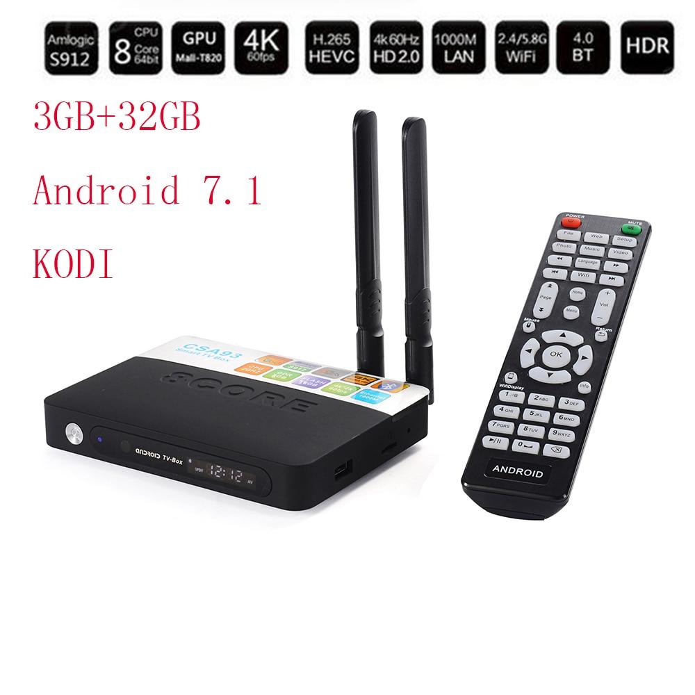 2018 Smart TV Box Android 7.1 S912 Octa core 3GB/32GB Dual WiFi 4K Bluetooth 4.0 TV Box HD Media Player Tvbox Set top Box Europe 10pcs vontar x92 3gb 32gb android 7 1 smart tv box amlogic s912 octa core cpu 2 4g 5g 4k h 265 set top box smart tv box