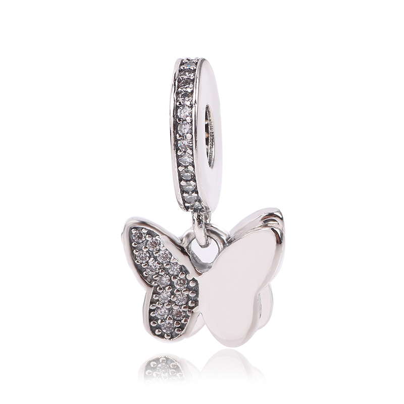Couqcy 100% 925 Sterling Silver Beads Fluttering Butterflies Pendant Charm Fit Original Pandora Charms Bracelet Neacklace DIY
