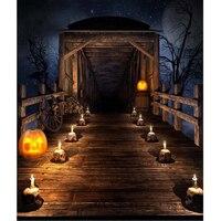 Full Moon Night Starry Sky Halloween Background Printed Wooden Bridge Skulls Candle Light Pumpkin Lanterns Kids Photo Backdrop