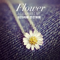 2014 New Fashion 925 Sterling Silver Women Daisy Gift Chain Chunky Necklaces Pendants Necklace Women Men