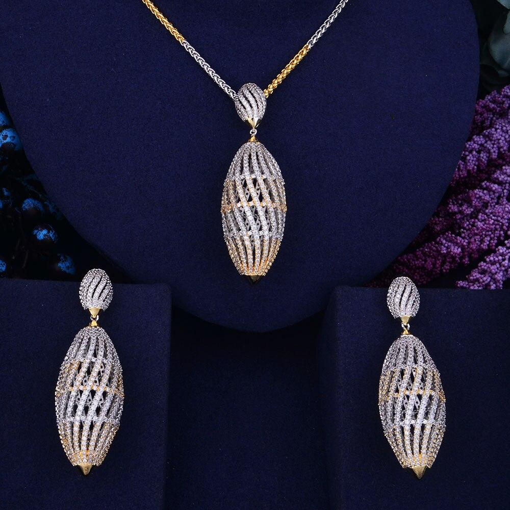 GODKI Hollow Ball Luxury 2 Tone Women Wedding Naija Bridal Cubic Zirconia Necklace Dubai Dress Jewelry
