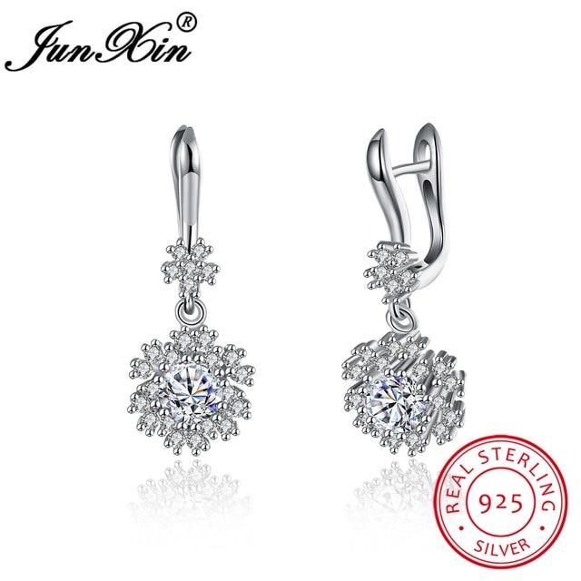 JUNXIN Brand 100% 925 Sterling Silver Snowflake Drop Earring Fashion Dangle Earring Double Earrings For Women Wedding Jewelry