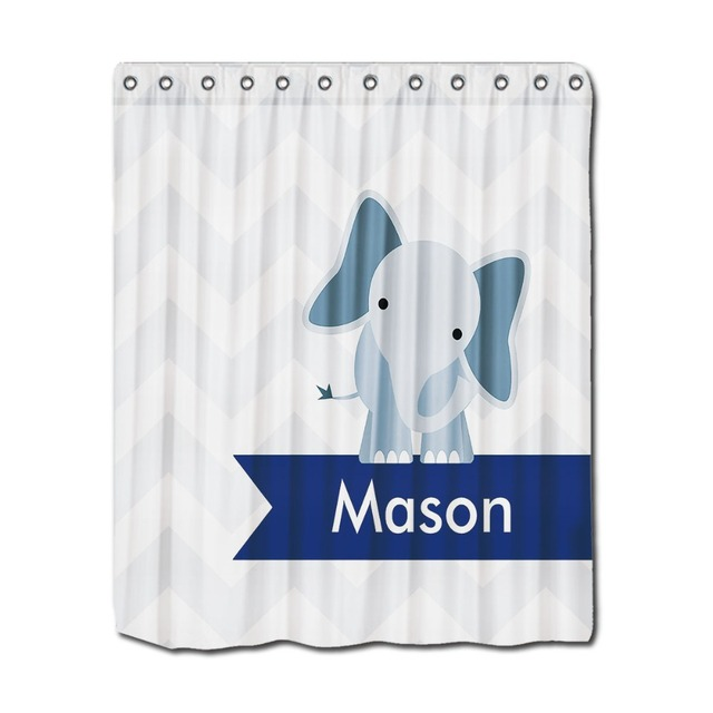 Name Print Shower Curtains Blue Elephant Printing Perfect For Kids ...