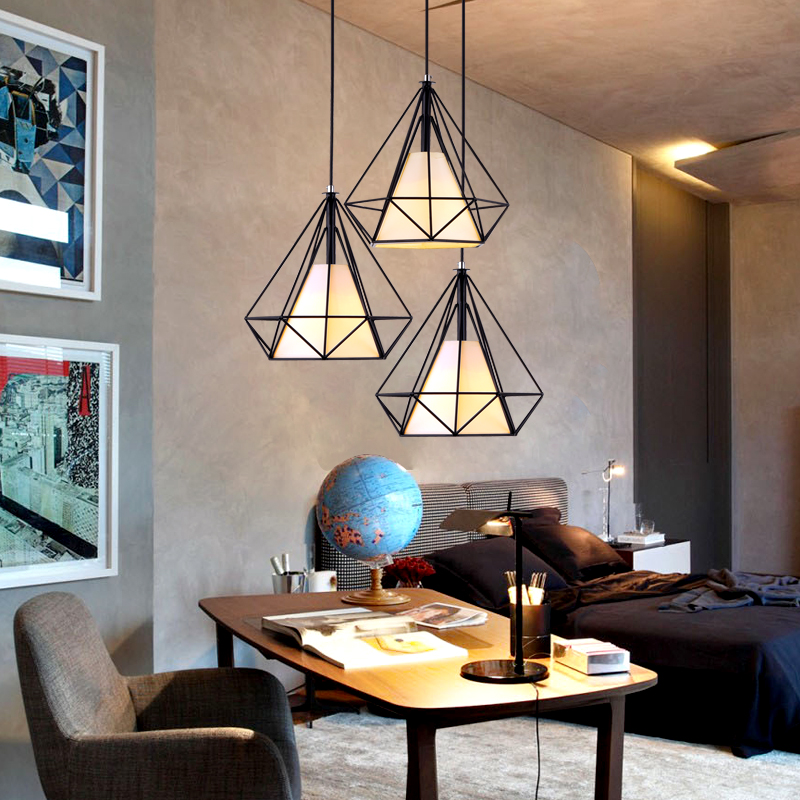 Modern Simple LED pendant lights diamond shape black iron ...