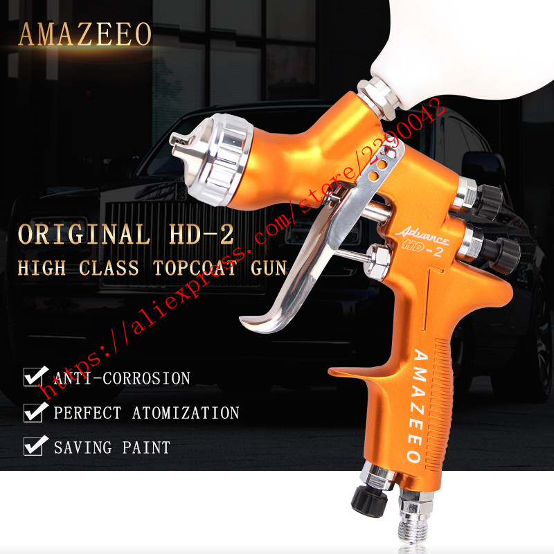 HVLP HD 2 Spray Gun Gravity Feed for all Auto Paint Topcoat Touch Up 600ml 1