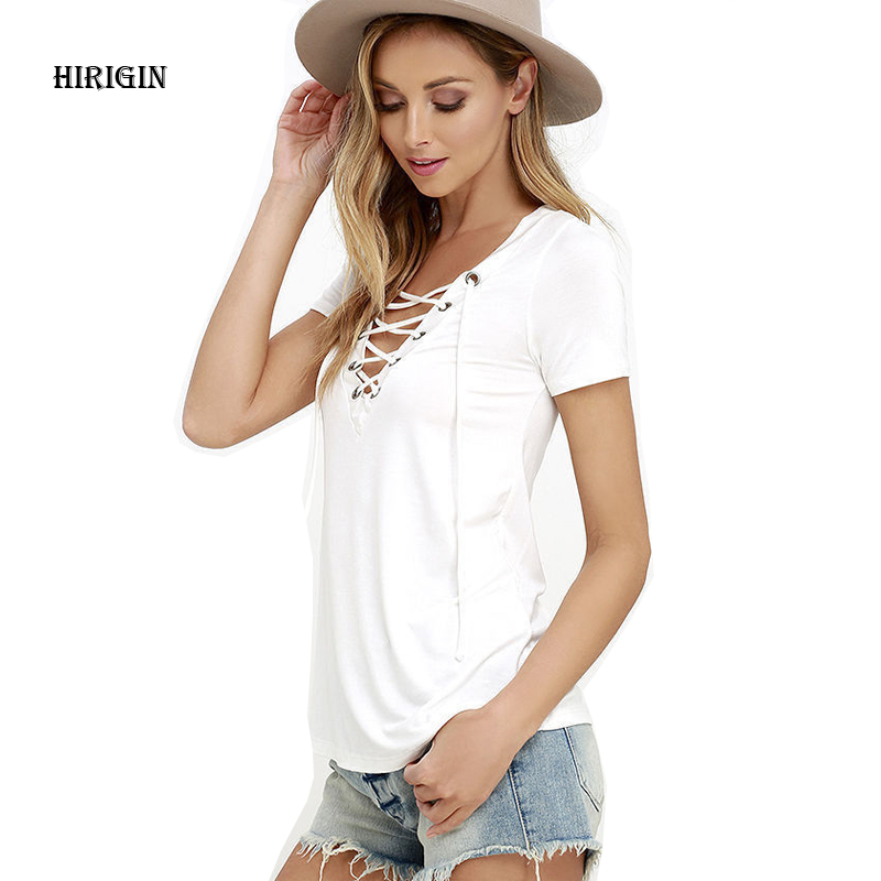 HIRIGIN 2017 Hollow Out Strappy Front Women Lace Up Causal Short Sleeve V Neck Blouse Shirt Women Ladies Tops Black Polo