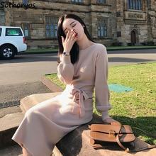 Dress Women 2020 Winter Trendy Slim Warm Cotton Long Sleeve Sashes Leisure O-neck Solid Simple Soft Womens Dresses Korean Style