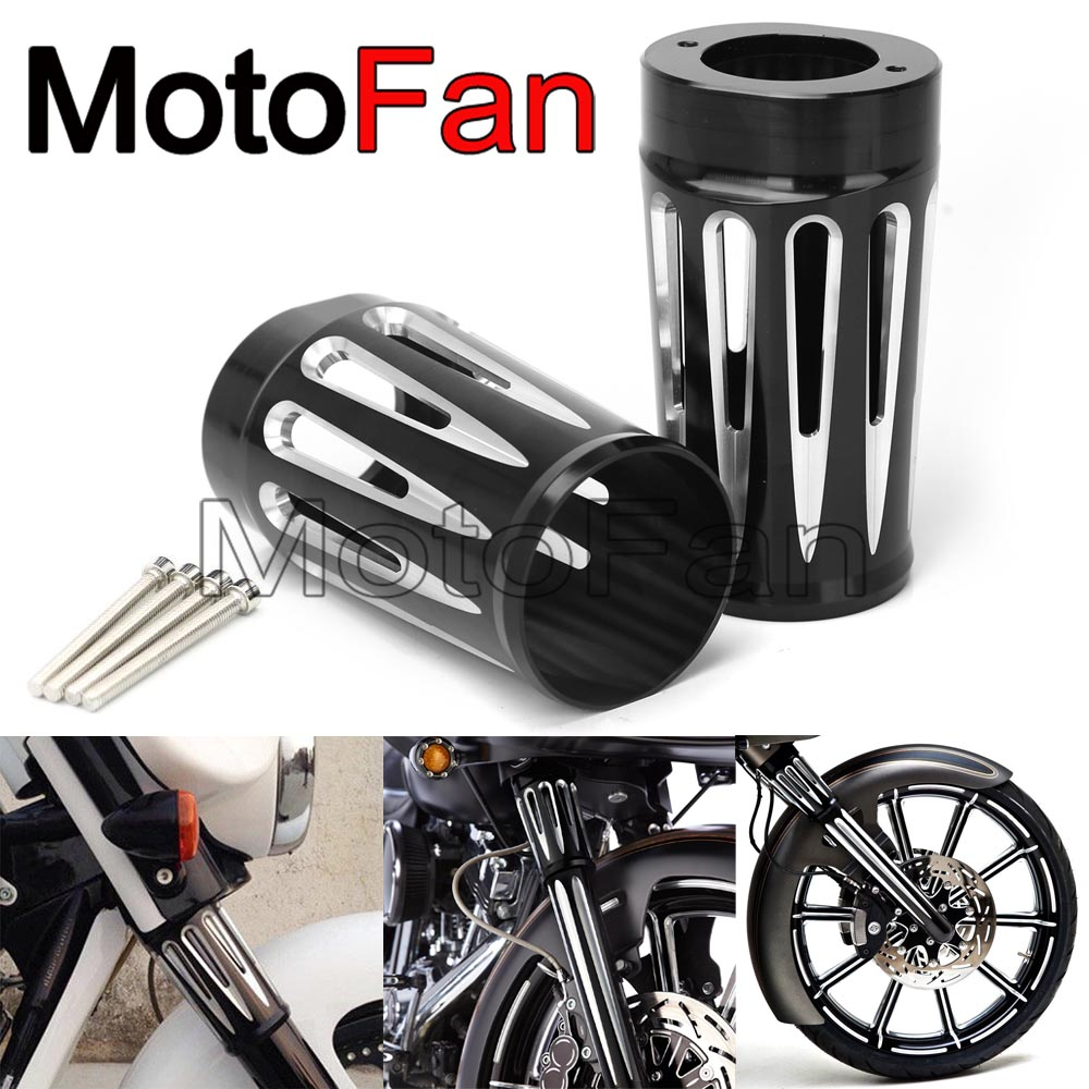 Motorcycle Upper Front Fork Slider Covers Kit Custom for Harley Davidson Touring FLT FLHR FLHT FLHX FLSTF FLSTN 1984 - 2013 chrome custom motorcycle skeleton mirrors for harley davidson softail heritage classic