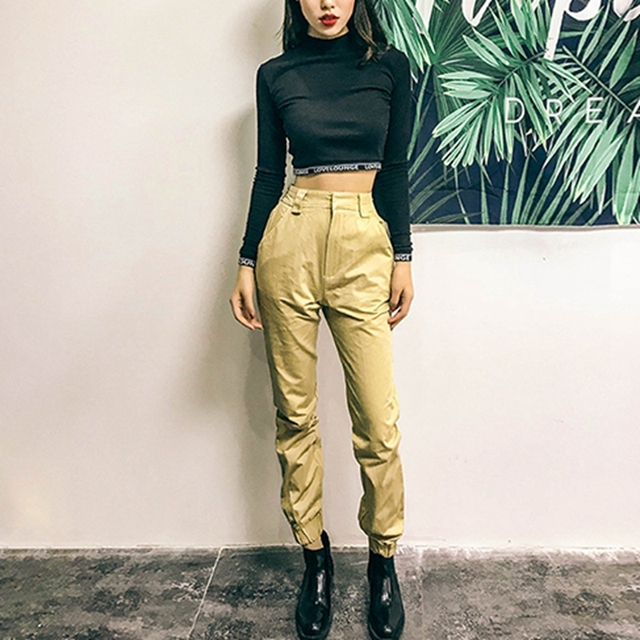 High waist loose joggers army pants street wear black cargo pants trousers 2