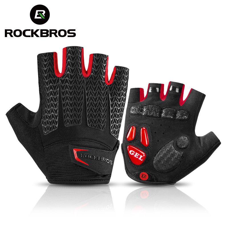 ROCKBROS Cycling Gloves MTB Road Gloves Mountain Bike Half Finger Gloves Men Summer Bicycle Gym Fitness Non-slip Sports Gloves