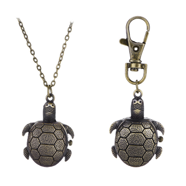 Cartoon Small Tortoise Quartz Pocket Watch Ladies Necklace Vintage Pocket Watch