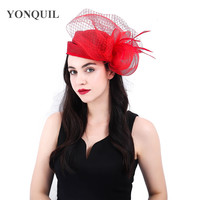 High quality red kenducky derby hats veils fascinators headband wedding millinery mesh headwear fancy feather hair accessories