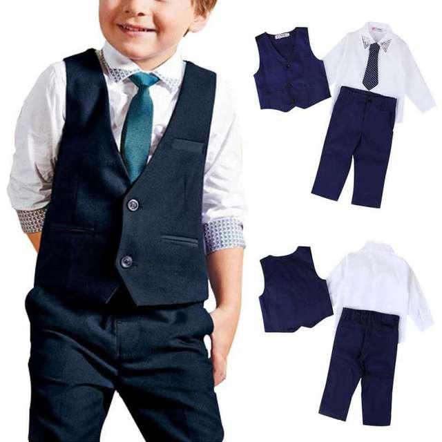 09631c968666 € 10.55 22% de DESCUENTO|2018 bebés primavera traje chaleco + blusa blanca  Camisa + corbata + Pantalones Caballero niños ropa outfits 4 piezas ...