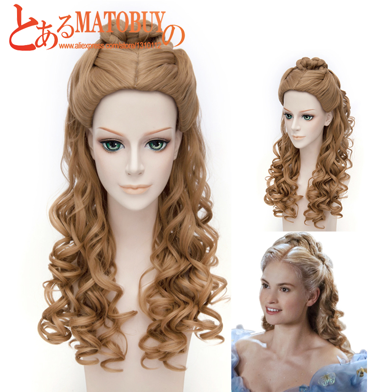 OHCOS Film Women's Cinderella Live Action Movie Belle Braided 60CM Long Curly Brown Princess Hair Cosplay Wig