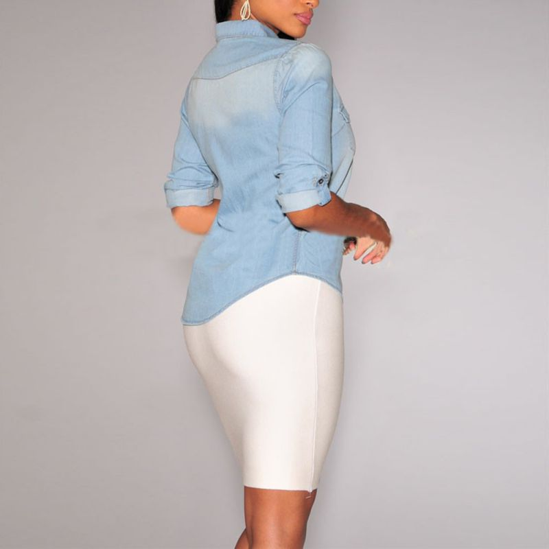 b5a2faa893 Women Lapel Button Dark Blue Light Blue Down Denim Jean Shirts Pocket Slim  Top Office Ladies All Match Sexy Blouse Coat-in Blouses   Shirts from  Women s ...