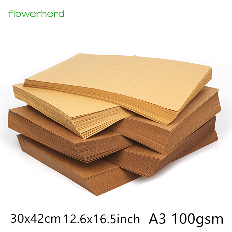 <font><b>100gsm</b></font> 10/20/50pcs A3 30x42cm Brown Kraft <font><b>Paper</b></font> DIY Handmake Card Making Craft <font><b>Paper</b></font> High Quality Thick Paperboard Cardboard image
