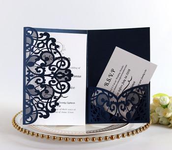 1 sztuk niebieski biały europejski laserowo wycinane zaproszenia ślubne tri-fold koronki biznesowe kartki z życzeniami upominek weselny tanie i dobre opinie BOOKLOVEMW Inne BIRTHDAY Walentynki Dzień matki Dzień nauczyciela Ślub New Year Uniwersalny Ślub i Zaręczyny St Świętego patryka