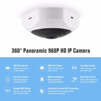 SANNCE 360-Degree Fisheye 960P HD Panoramic IP Camera 1.3MP Wireless Security Camera Mini Wifi Cam & Two-Way Audio Built-in MIC