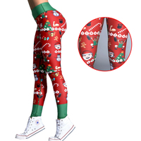 Plus Size Happy New Year Gift Christmas Leggings Tree Snow Printing Slim Low Waist Workout Fitness