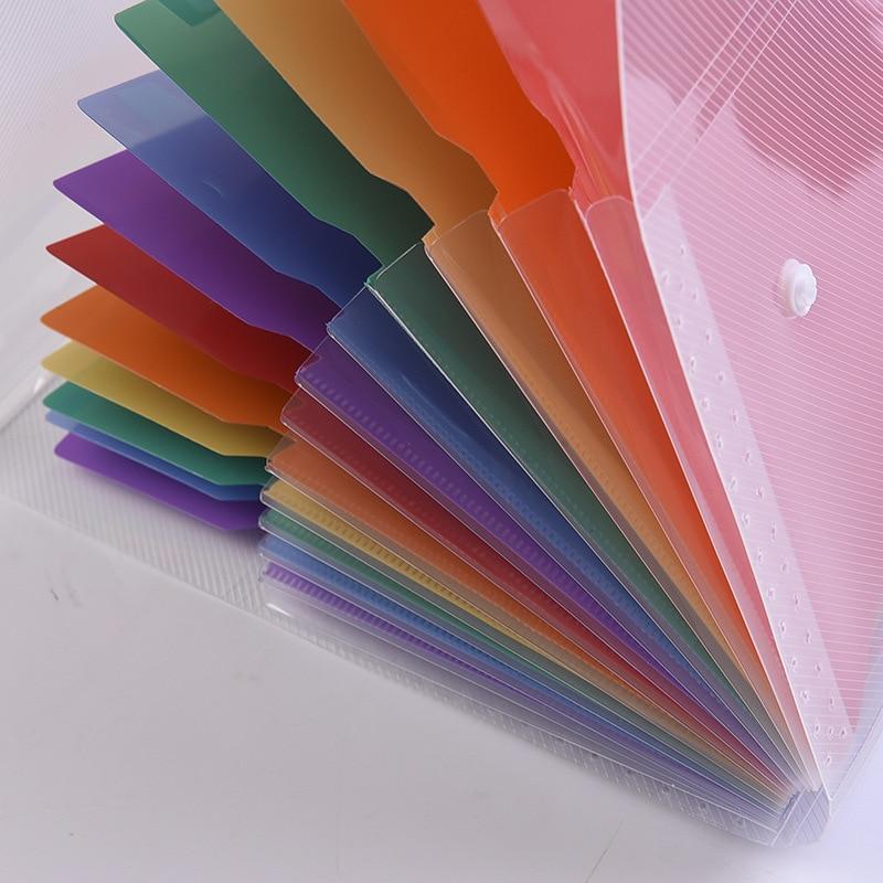 A4 File Folder Bag Expanding Wallet Plastic File Organizer A4 Rainbow Document Bag Fichario Escolar The Office School Supplies