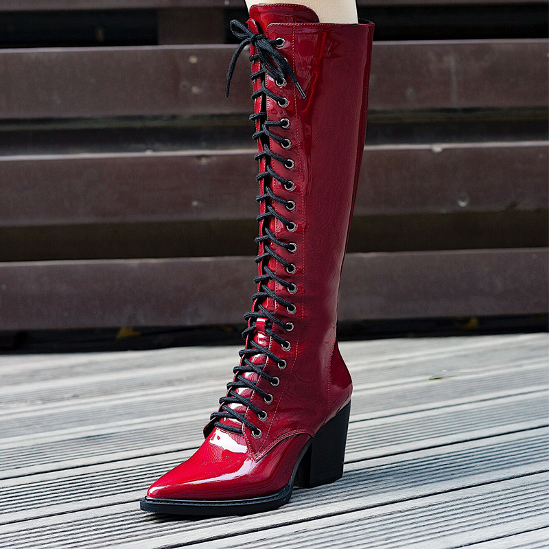 MORAZORA 2018 top quality patent leather knee high boots women pointed toe lace up autumn winter boots fashion punk shoes womanMORAZORA 2018 top quality patent leather knee high boots women pointed toe lace up autumn winter boots fashion punk shoes woman
