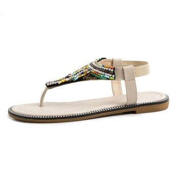Sandales Plates à Lanière   MStacchi été Haute Qualité Femmes Sandales 2019 Nouvelle Mode Bohême Chaîne Perle Confortable Antidérapant Doux Fond Plat Femmes