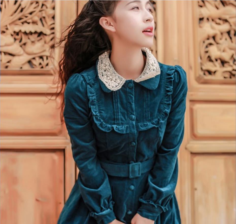 Pan Style Longues Manches Vêtements Col 2018 Nouveau Green Haute Côtelé Femelle Gx1555 À Peter Mince Taille En Velours Vintage Robe Automne vqdtn4Exvw