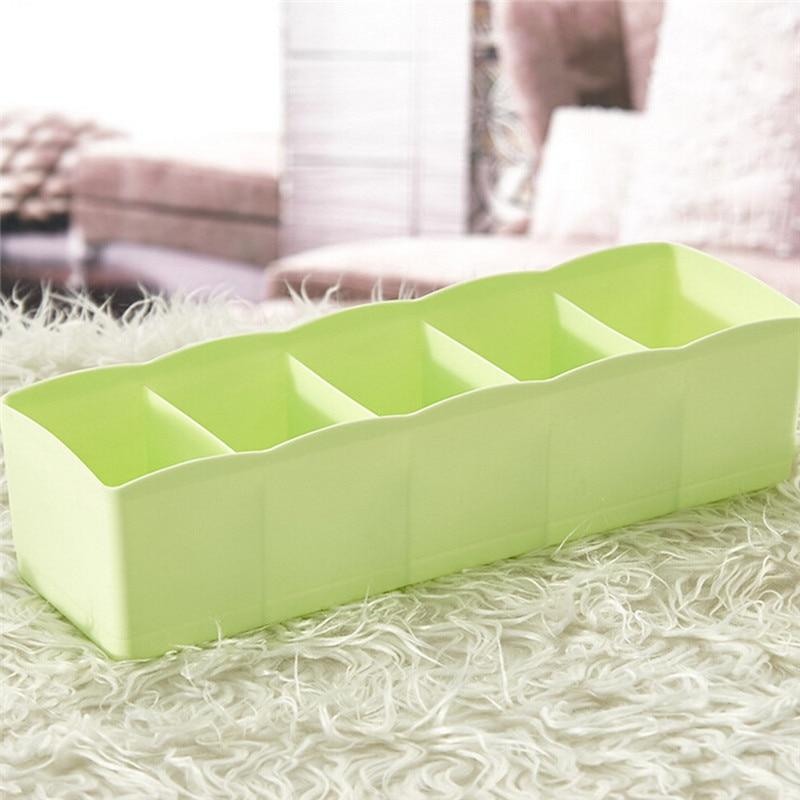 1pc Hot Storage Box 5 Cells Plastic Organizer Storage Box Tie Bra Socks Drawer Cosmetic Divider Tidy New arrival #3n15#F (10)