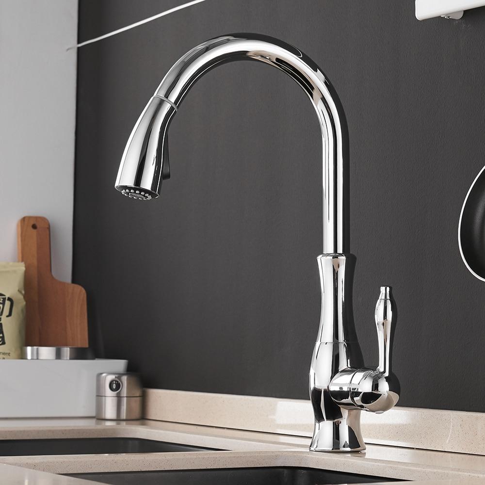 Золотые кухонные смесители, серебристые, с одной ручкой, выдвижной кухонный кран, с одним отверстием, с ручкой, поворотный градусов, смеситель для воды, смеситель, кран 866011 - 5
