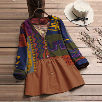 Print Women Shirt V-neck Button Casual Loose Blouses