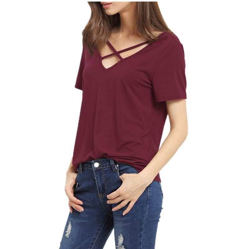 HTB1Vm7MMVXXXXcmXVXXq6xXFXXXH - Bandage Sexy V Neck Criss Cross Top Casual Lady Female T-shirt
