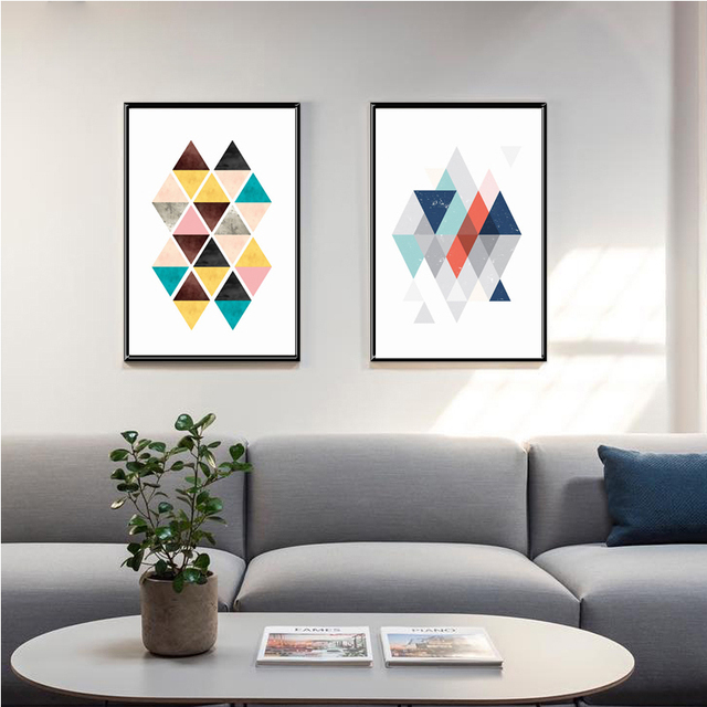 Moderne abstrakte geometrie malerei nordic geometrische formen wandbilder f r wohnzimmer poster - Poster wohnzimmer ...