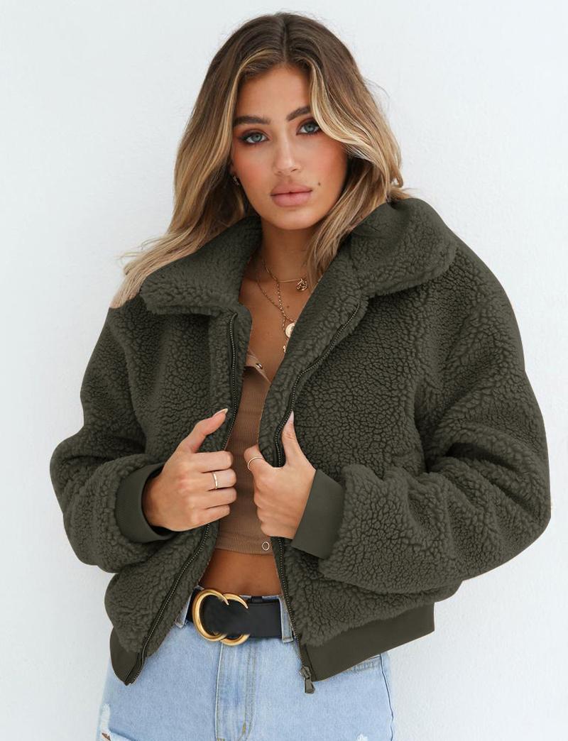 19 Winter arrival Women Cotton Fluffy Long Sleeve Jacket Ladies Warm Outerwear Cardigan Coat 13