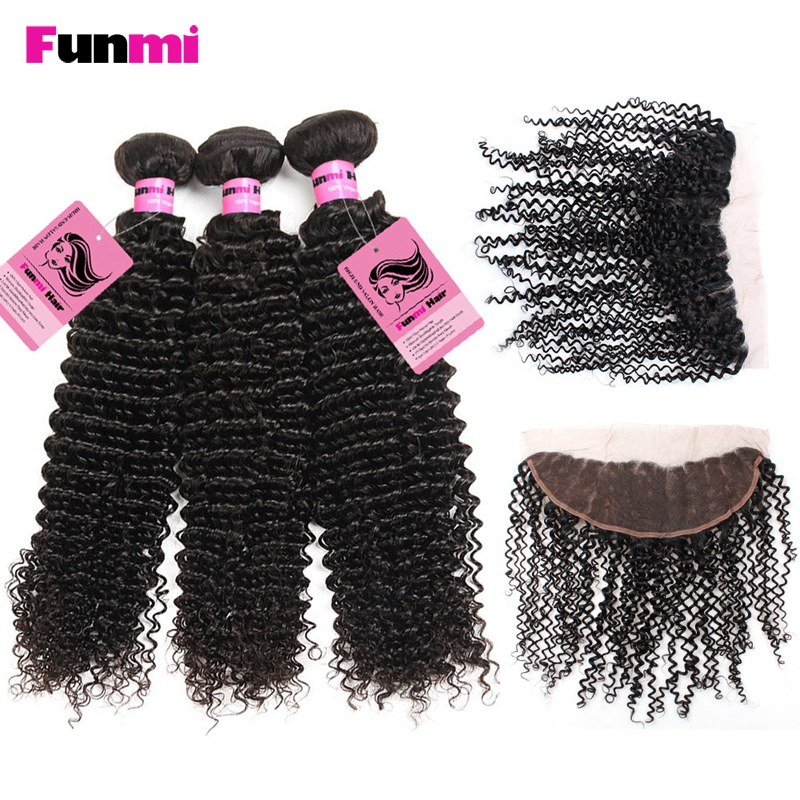 Funmi Raw Indian Curly Bundles With Frontal 100% Human Hair Bundles With Frontal 3 Bundles With Lace Frontal Indian Virgin Hair