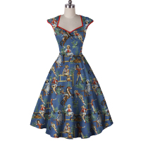 Girl Summer Vintage 50s Retro Western USA Cowgirl Buffalo Gals Blue Daught Sleeveless Swing Dress Cotton Vestido de Festa