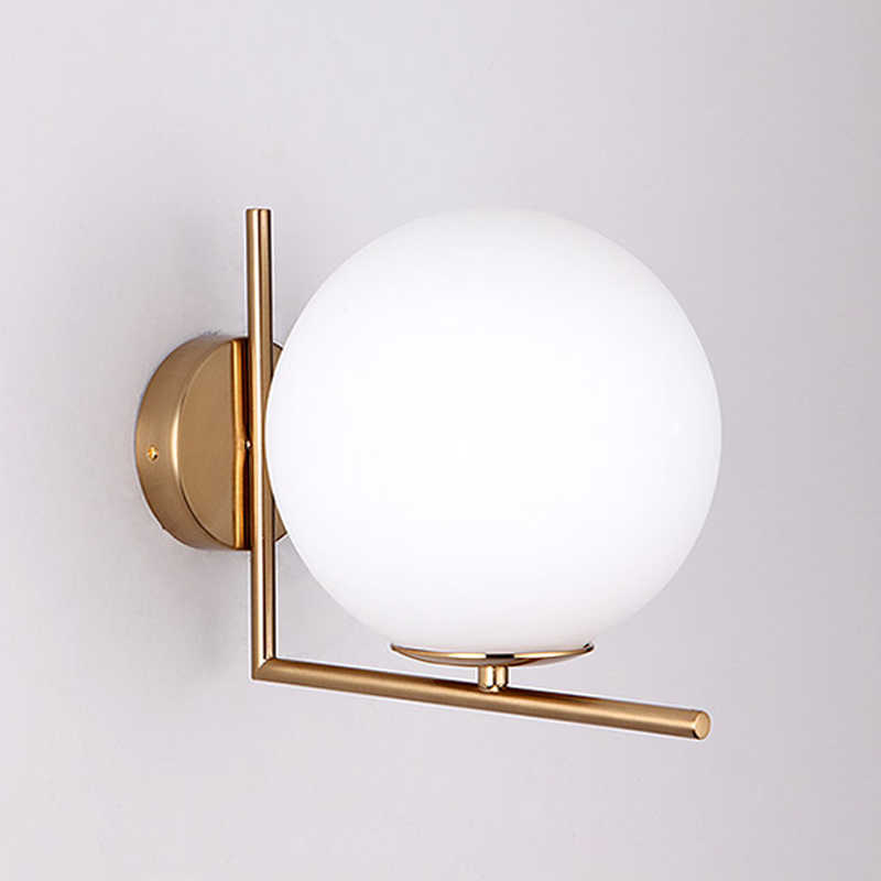 Lampes murales boule de verre moderne LED lampe de chevet LED de lecture lampes murales Globe blanc intérieur décoration de la maison éclairage E27 Luminaire