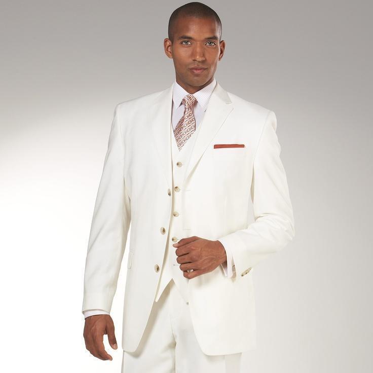 Custom Made One Button Ivory Groom Tuxedos Notch Lapel Groomsmen Best Man Wedding Prom Suits (Jacket+Pants+Vest+Tie)