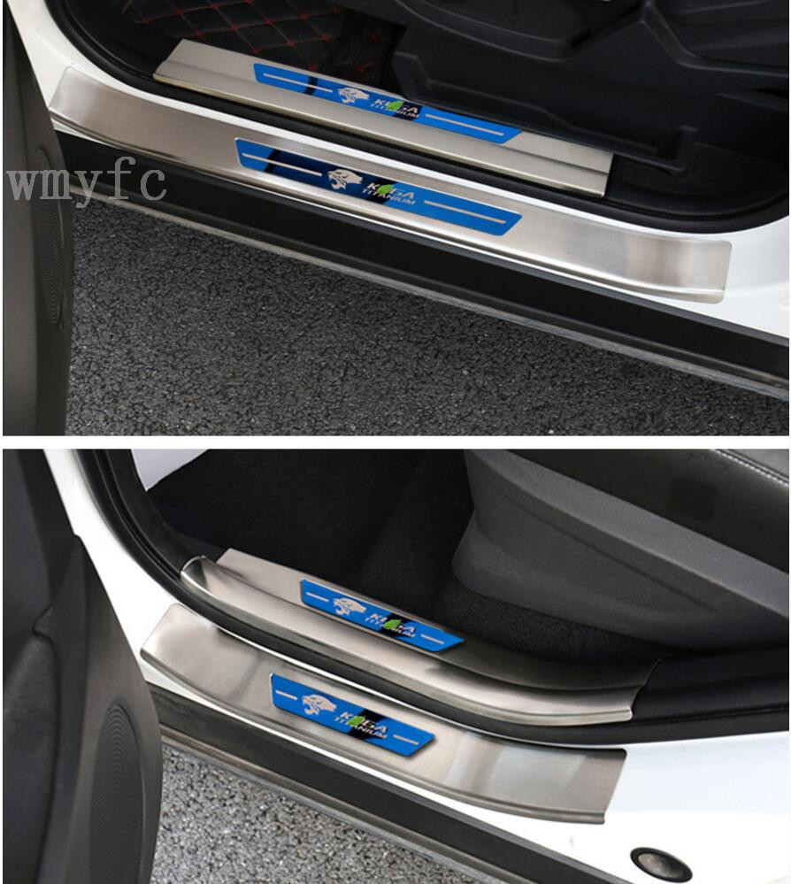 Car Styling Sticker For ford kuga 2013 2014 2015 2016 2017 Stainless steel Door Sill Scuff Plate Guards Door Sills Protector 2x cool led dynamic car door sill scuff plate guard sills protector trim for peugeot 4008 from 2012 2015 car styling